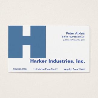 Letter H Gill font blue Business Card