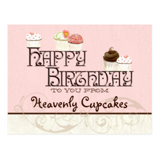 Letter H Happy Birthday Cupcake Business Postcard