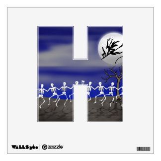 Letter H Initial - Halloween Moonlit Party Scene Wall Decal