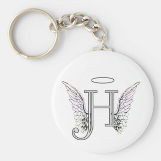 Letter H Initial Monogram with Angel Wings & Halo Keychain