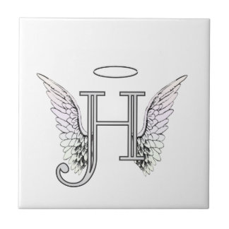Letter H Initial Monogram with Angel Wings & Halo Tile