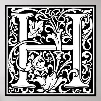 Letter H Medieval Monogram Vintage Initial Poster