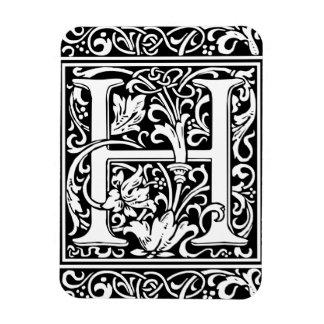 Letter H Medieval Monogram Vintage Initial Rectangular Photo Magnet