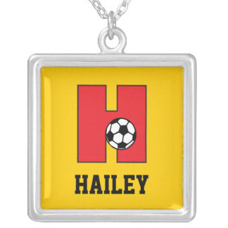 Letter H Monogram in Soccer Red Silver Plated Necklace