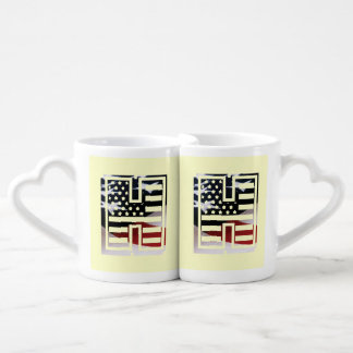 Letter H Monogram Initial Patriotic USA Flag Coffee Mug Set