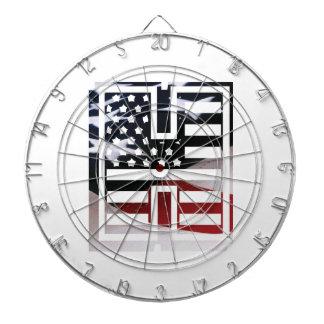 Letter H Monogram Initial Patriotic USA Flag Dartboard
