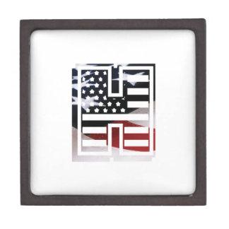 Letter H Monogram Initial Patriotic USA Flag Gift Box