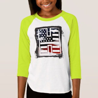 Letter H Monogram Initial Patriotic USA Flag T-Shirt
