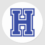 Letter H Round Stickers