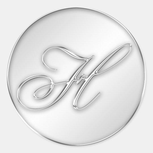 Letter H script initial faux silver monogram favor Classic Round Sticker