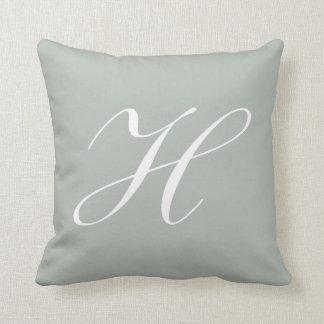 Letter H Silver Gray Monogram Pillow