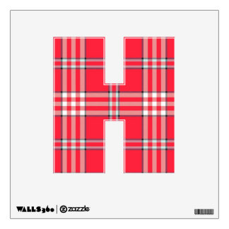 letter H sticker red plaid tartan college rock emo