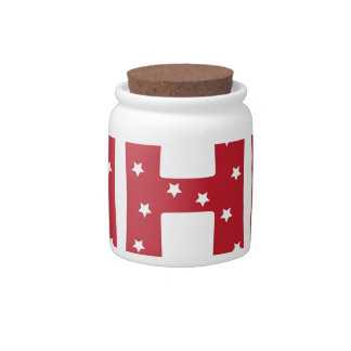 Letter H - White Stars on Dark Red Candy Dish