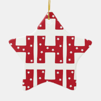 letter h white stars on dark red ceramic ornament