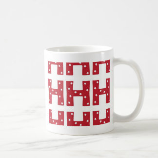 Letter H - White Stars on Dark Red Coffee Mug