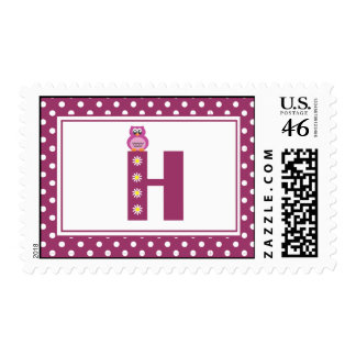 Letter H with Owl Postage