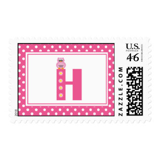 Letter H with Owl Postage Stamp
