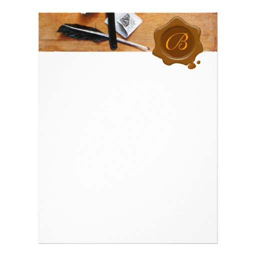 LETTER HOLDER IN WOOD BROWN WAX SEAL MONOGRAM CUSTOMIZED LETTERHEAD