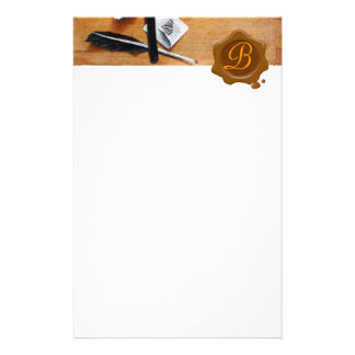 LETTER HOLDER IN WOOD BROWN WAX SEAL MONOGRAM STATIONERY