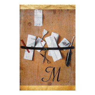 LETTER HOLDER IN WOOD MONOGRAM brown black white Stationery