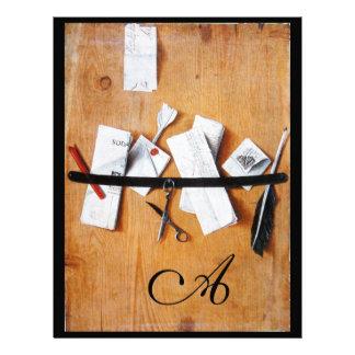 LETTER HOLDER IN WOOD MONOGRAM brown white black Letterhead Template