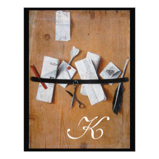 LETTER HOLDER IN WOOD MONOGRAM brown white black Personalized Letterhead