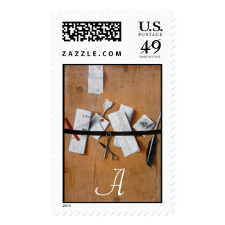 LETTER HOLDER IN WOOD MONOGRAM ,brown white Postage Stamp