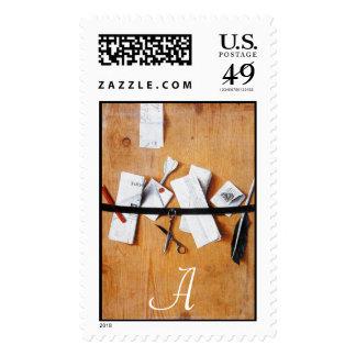 LETTER HOLDER IN WOOD MONOGRAM ,brown white Stamp