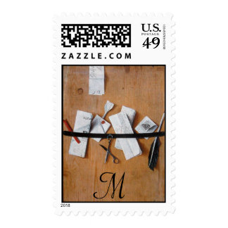 LETTER HOLDER IN WOOD MONOGRAM ,brown white Postage Stamps