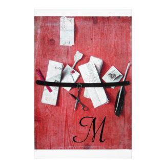 LETTER HOLDER IN WOOD MONOGRAM red black white Stationery