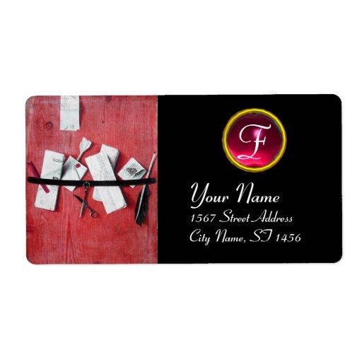 LETTER HOLDER IN WOOD MONOGRAM, red ruby black Shipping Label