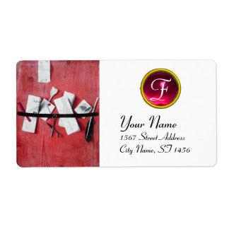 LETTER HOLDER IN WOOD MONOGRAM, red ruby white Label