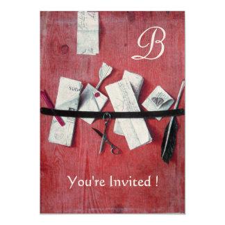 LETTER HOLDER IN WOOD MONOGRAM red white black 5x7 Paper Invitation Card