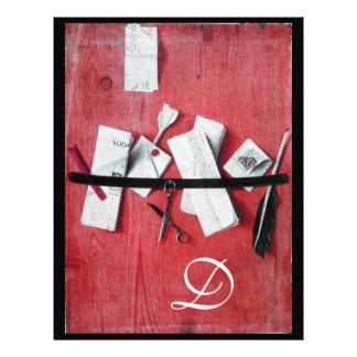 LETTER HOLDER IN WOOD MONOGRAM red white black Personalized Letterhead