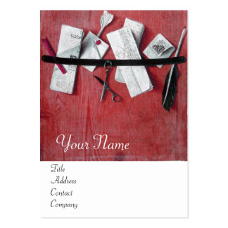 LETTER HOLDER IN WOOD MONOGRAM red white Large Business Cards (Pack Of 100)