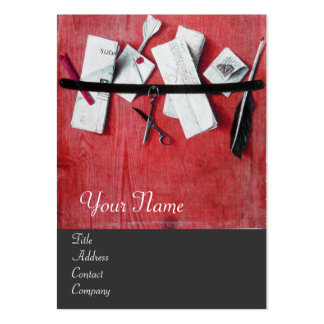 LETTER HOLDER IN WOOD MONOGRAM red white grey Business Cards