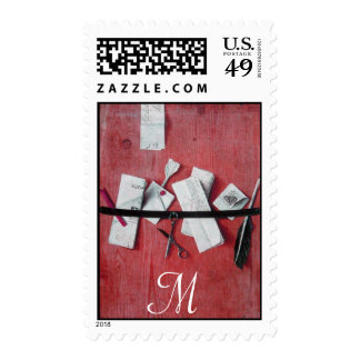 LETTER HOLDER IN WOOD MONOGRAM ,red white Postage