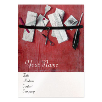LETTER HOLDER IN WOOD MONOGRAM , white pearl red Large Business Card