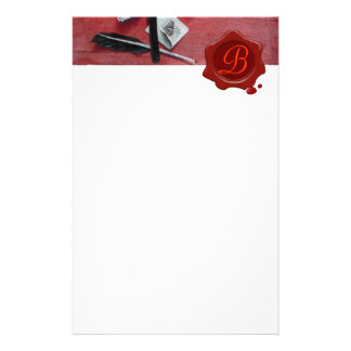 LETTER HOLDER IN WOOD RED WAX SEAL MONOGRAM white Stationery