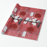 LETTER HOLDER IN WOOD ,RED WAX SEAL MONOGRAM GIFT WRAP