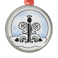 Letter I Alphabet Initial Monogram w Angel Clouds Christmas Ornaments
