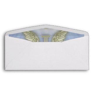 Letter I Angel Monogram Envelope