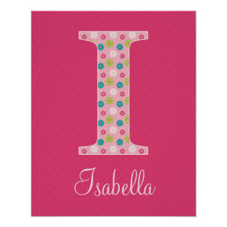 Letter I Initial Alphabet Poster for Girl