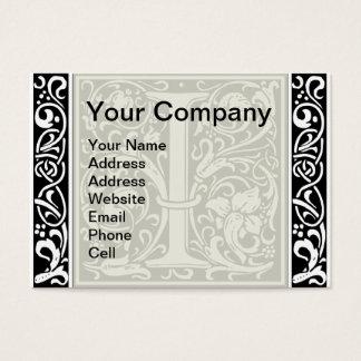 Letter I Medieval Monogram Vintage Initial Business Card
