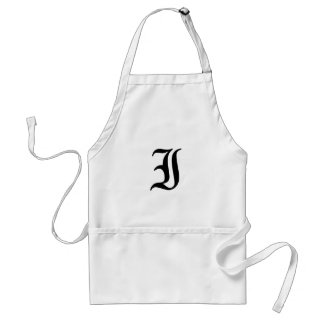 Letter I Old English Text on White Background Adult Apron