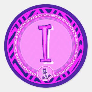 Letter 'I' Pink Nautical Chevron w/ Anchor  - Classic Round Sticker