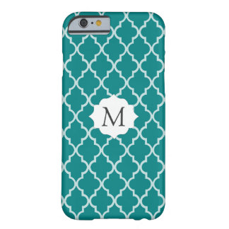 Letter, Initial Teal Green, White Moroccan Trellis Barely There iPhone 6 Case