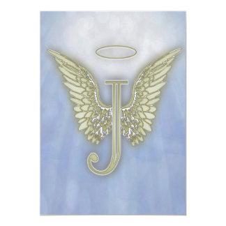 Letter J Angel Monogram 5x7 Paper Invitation Card