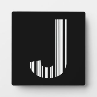 LETTER J BAR CODE First Initial Barcode Pattern Plaque