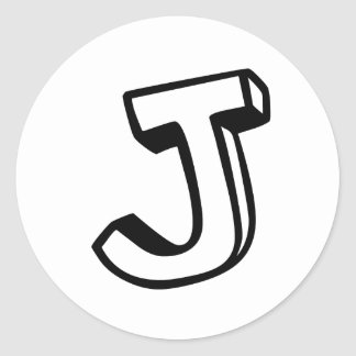 Letter J Classic Round Sticker